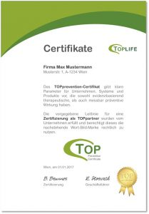 TOPprevention Certificate
